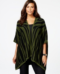 Ny Collection Plus Size Zebra Pattern High Low Poncho Cardigan Green Black