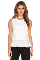 Central Park West Banff Layered Faux Leather Tank Ivory