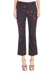 Marc Jacobs Floral Cropped Bowie Pants Pinstripe Multi