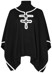 Boutique Moschino Monochrome Roll Neck Wool Poncho Black And White