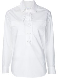 Equipment Lace Up Shirt White