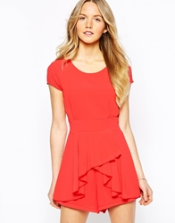 Wal G Romper With Frill Front Coral