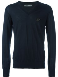 Dolce And Gabbana Embellished Bee Patch Jumper Blue