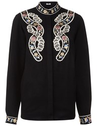 Vilshenko Black Floral Embroidered Jessie Blouse