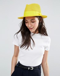Liquorish Straw Trilby Hat With Ribbon Mustard Yellow