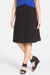 Eileen Fisher Gathered Organic Cotton Knee Length Skirt Black