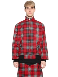 Long Clothing Reversible Plaid Cotton Flannel Jacket Red
