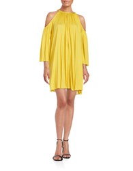Rachel Zoe Pleated Cold Shoulder Trapeze Dress Dijon