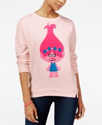 Trolls By Dreamworks Juniors' Poppy Sweatshirt Light Pink