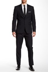 Vince Camuto Notch Lapel Two Button Wool Suit Black