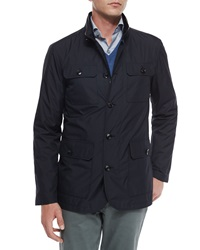 Ermenegildo Zegna Four Pocket Quilted Safari Jacket Navy