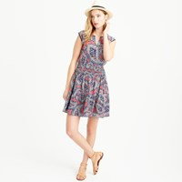 J.Crew Silk Smocked Waist Dress In Paisley
