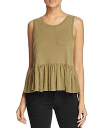 Free People Continental Ruffled Peplum Tank Taupe