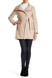 Dkny Double Breasted Stand Collar Wool Blend Trench Coat Beige