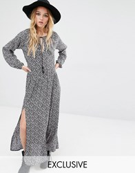 Reclaimed Vintage Maxi Dress With Front Splits In Ditsy Floral Black