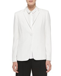 Elie Tahari Winnie One Button Embellished Collar Jacket Joey White