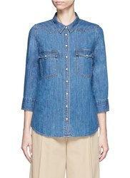 Closed Western Detail Cotton Denim Shirt Blue