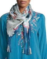 Periwinkle Silk Georgette Tassel Scarf Multi Johnny Was Collection