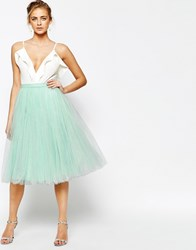 Little Mistress Midi Tulle Skirt Green