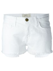 Current Elliott Frayed Denim Shorts White
