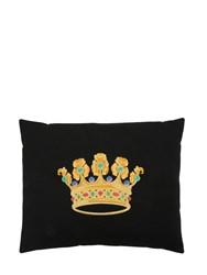 Loretta Caponi Crown Embroidered Wool Pillow