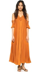 Self Portrait Pleated Cold Shoulder Gown Camel