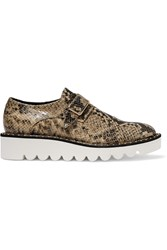 Stella Mccartney Snake Effect Glossed Faux Leather Brogues Brown Beige