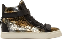 Giuseppe Zanotti Bronze And Black Snakeskin London Some Sneakers