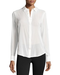 Rachel Zoe Sheer Chiffon Blouse W Silk Trim Winter White
