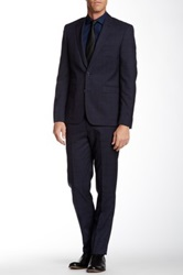 Vince Camuto Navy Nailhead Windowpane Two Button Notch Lapel Suit
