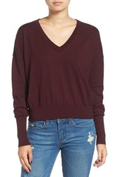 Women's Bp. V Neck Crop Pullover Burgundy Stem