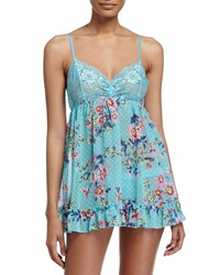 Hanky Panky Floral Lace Trim Babydoll And G String Set True Blue