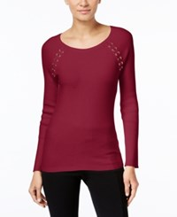 Inc International Concepts Lace Up Sweater Only At Macy's Glazed Berry