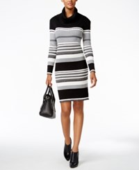 Connected Cowl Neck Striped Sweater Dress Black Gray White