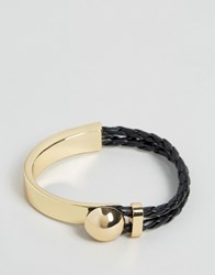 Asos Bangle With Plait And Metal Gold