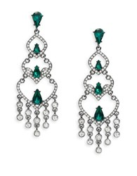 Robert Rose Two Tone Chandelier Earrings Emerald