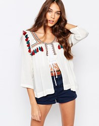 Pull And Bear Pullandbear Jacket With Pom Poms White