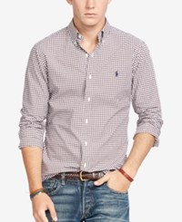 Polo Ralph Lauren Men's Relaxed Fit Checked Poplin Shirt Brown White