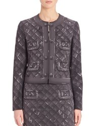 Moschino Quilted Four Pocket Print Jacket Grey