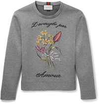 Gucci Embroidered Cotton Sweatshirt Gray
