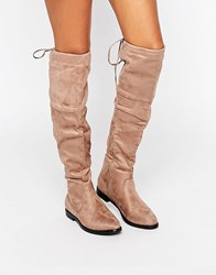 Truffle Collection Over The Knee Flat Boots Taupe Mf Beige