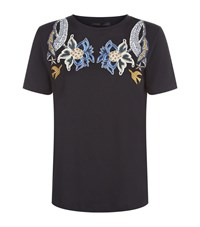 Maje Tapioca Embroidered T Shirt Female Navy