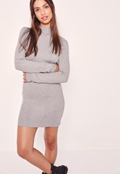 Missguided High Neck Long Sleeve Ribbed Mini Dress Grey