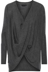 Alice Olivia Draped Wool And Cashmere Blend Sweater Gray