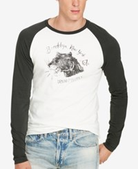 Denim And Supply Ralph Lauren Men's Jersey Long Sleeve Baseball T Shirt White