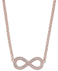 Thomas Sabo Cubic Zirconia Infinity Pendant Necklace In Rose Gold Plated Sterling Silver
