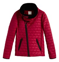 Sandwich Padded Jacket With Faux Fur Collar Red