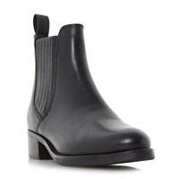 Dune Peppys Low Block Covered Chelsea Boots Black Leather