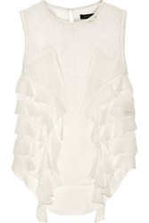Isabel Marant Ray Crochet Knit Cotton And Ruffled Silk Top White