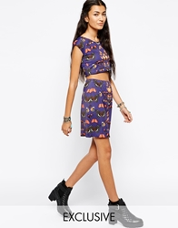Your Eyes Lie Mini Bodycon Skirt With All Over Butterfly Print Co Ord Blue